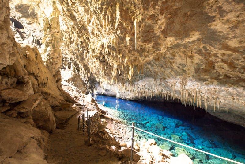 Bonito cavern of the blue lake. Bonito Brazil blue lake cavern, Mato Grosso do Sul state stock image