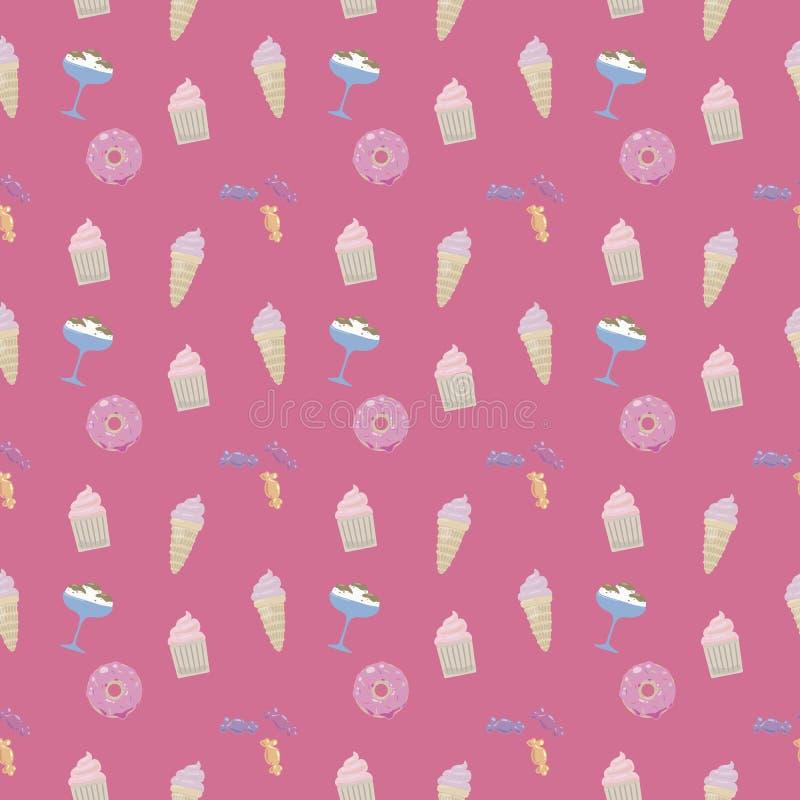 Bonito colorido lustroso dos doces do queque do gelado da filhós dos doces em um teste padrão sem emenda saturado do vetor do fun ilustração stock
