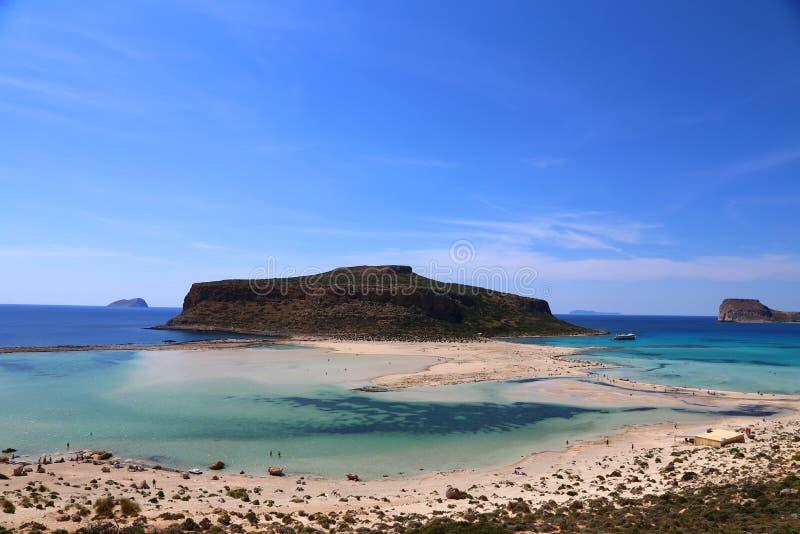 Bonito das ilhas gregas - baía de Balos na ilha da Creta imagens de stock