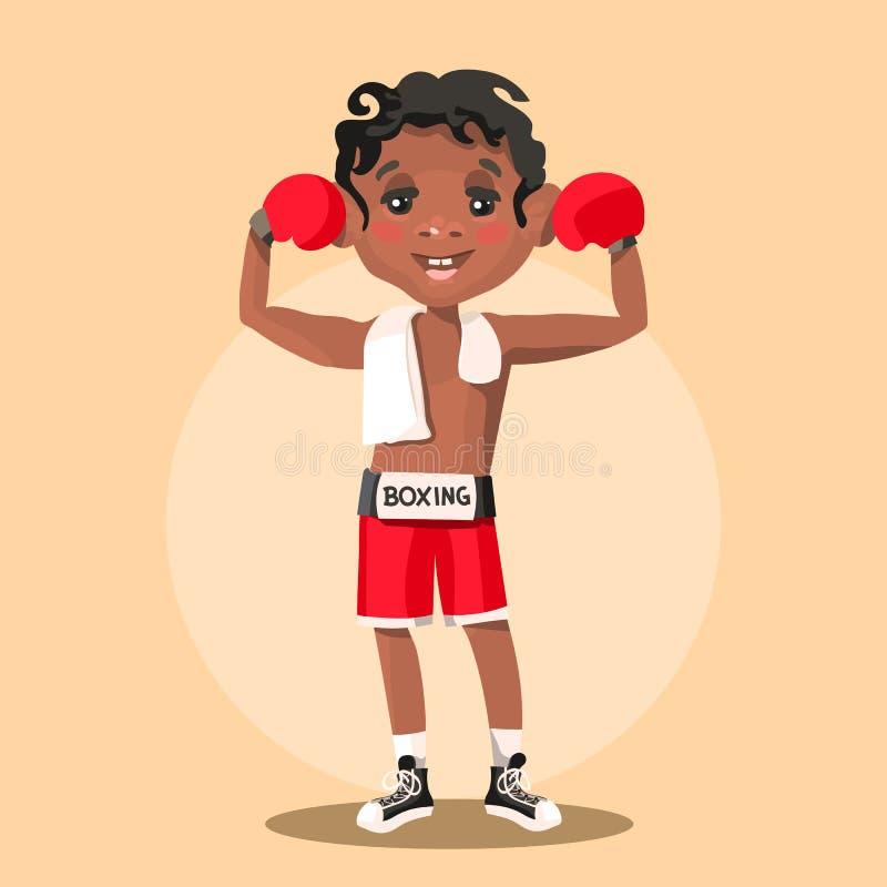 Bonito, desenhos animados, menino preto afro-americano adorável em um traje do pugilista ilustração stock