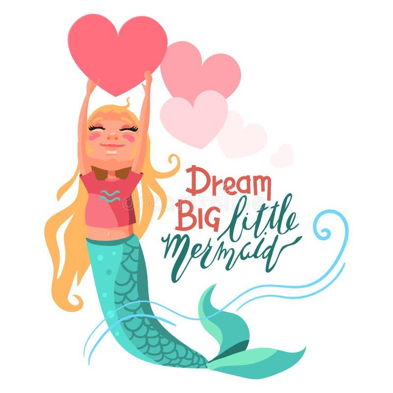 Bonito, desenhos animados, sereia adorável da menina que mantém o coração grande cor-de-rosa brilhante ilustração royalty free