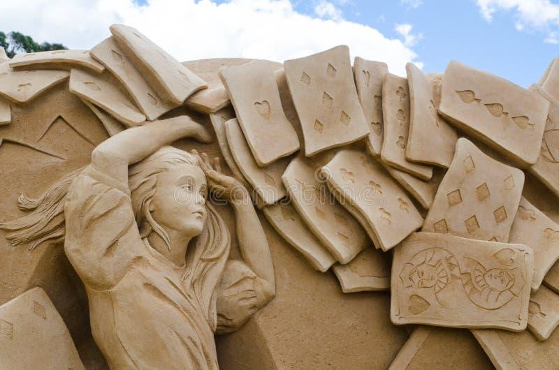 ` Bonito dos soldados do cartão do ` da escultura da areia na exposição do país das maravilhas, em Blacktown Showground foto de stock