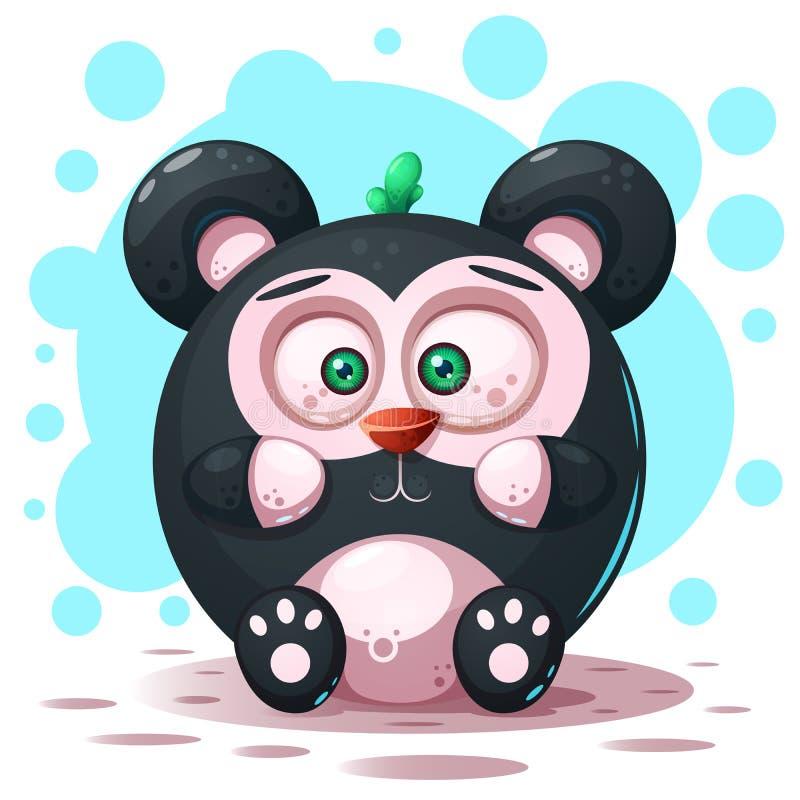 Bonito, engraçado - caráter da panda dos desenhos animados ilustração stock