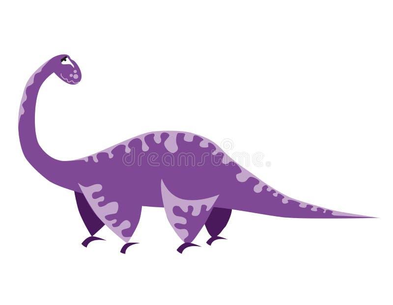 Bonito ilumine - o dinossauro roxo Desenhos animados Dino Ilustração do vetor Brachiosaurus ilustração royalty free