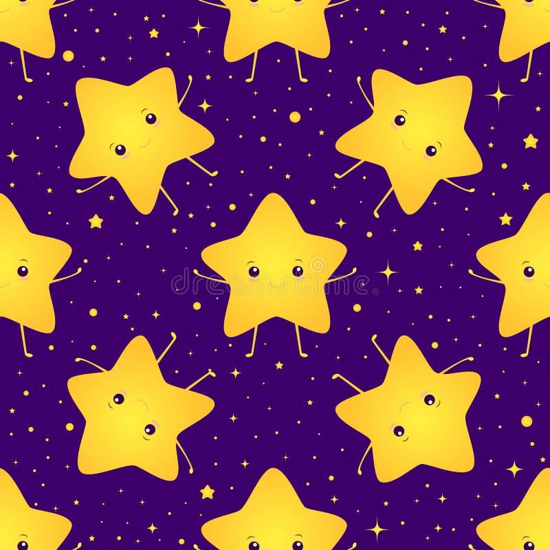 Bonito, kawaii, teste padrão doce sem emenda de sorriso brilhante das estrelas Textura com poucas estrelas mágicas felizes, céu n ilustração royalty free