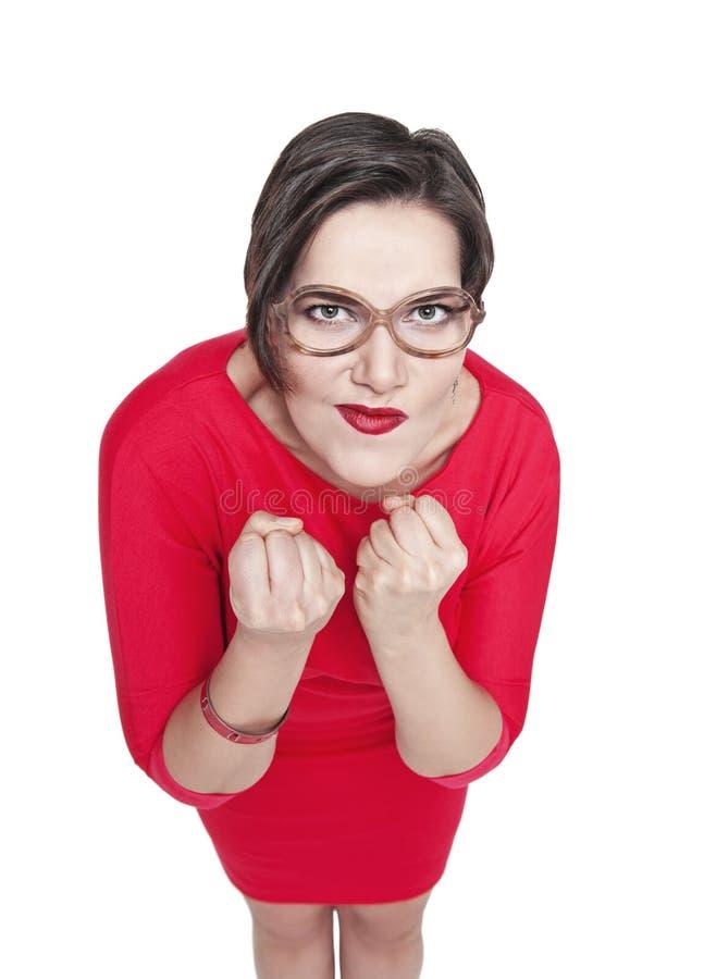 Bonito mais a mulher do tamanho com os punhos apertados isolados foto de stock royalty free