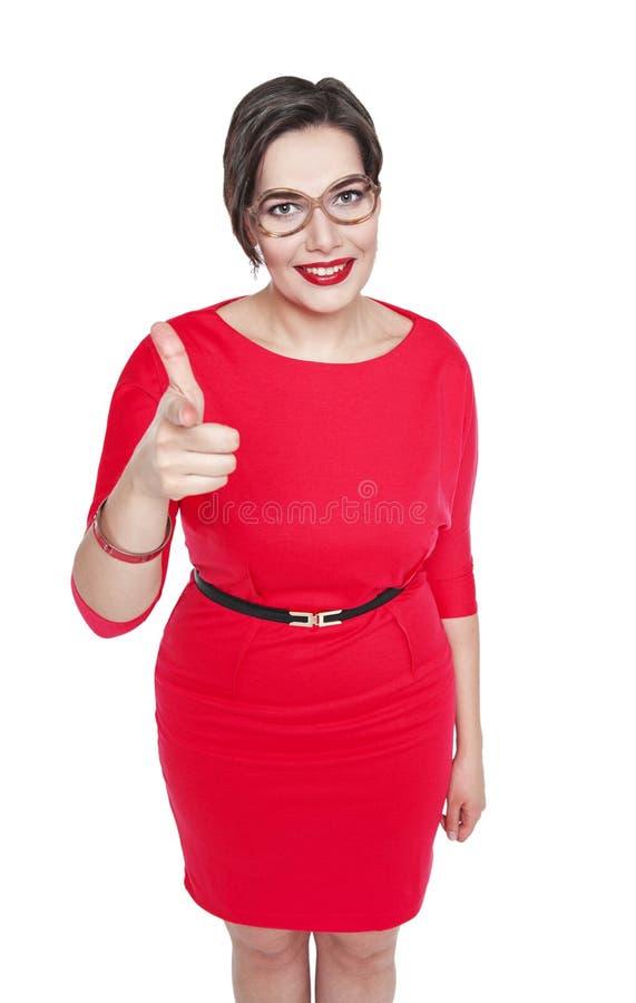Bonito mais a mulher do tamanho que mostra o sinal da arma isolado fotografia de stock