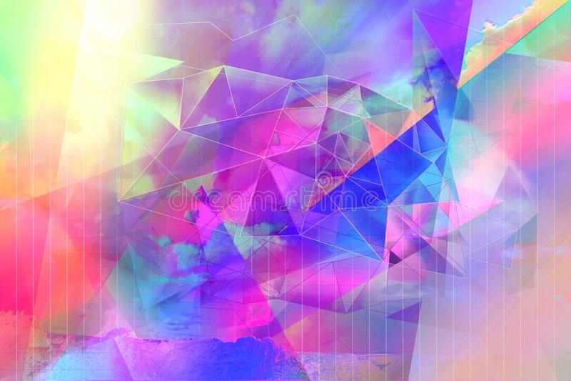 Bonito, moderno, poligonal, fundo artístico brilhante dos triângulos imagem de stock