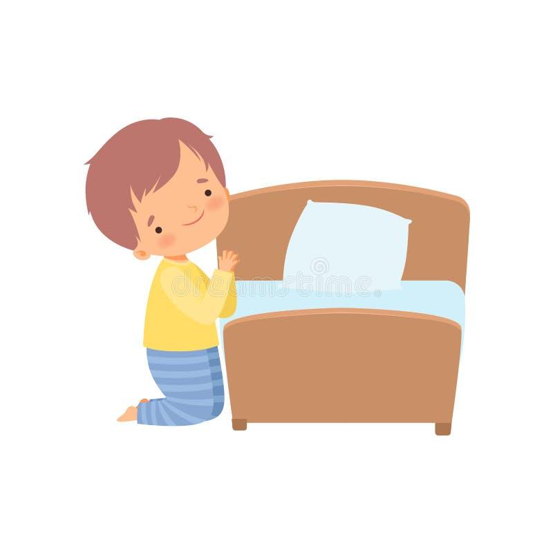 Bonito pequeno personagem rezando antes de ir para a ilustração vetorial da cama ilustração stock