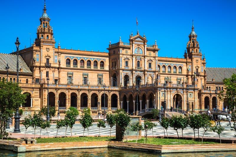 Bonito Plaza de Espana, Sevilha, Espanha foto de stock royalty free