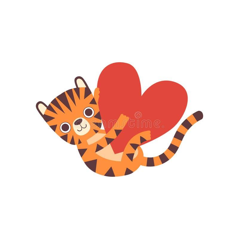 Bonito pouco Tiger Holding Big Heart, ilustração animal selvagem adorável do vetor do personagem de banda desenhada ilustração royalty free