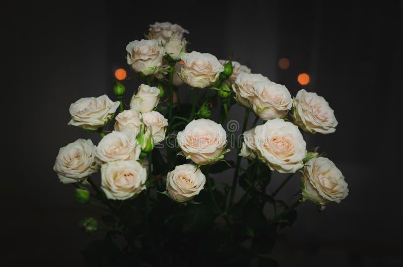 Bonito ramo en un fondo oscuro Composición elegante de rosas foto de archivo libre de regalías