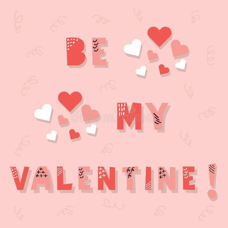 Bonito seja minha mensagem do Valentim com corações no fundo cor-de-rosa ilustração royalty free