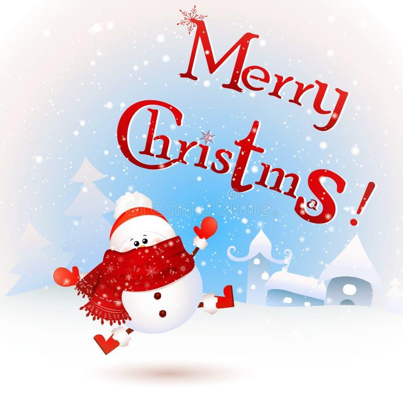 Bonito, sentindo entusiasmado Feliz Natal ilustração royalty free