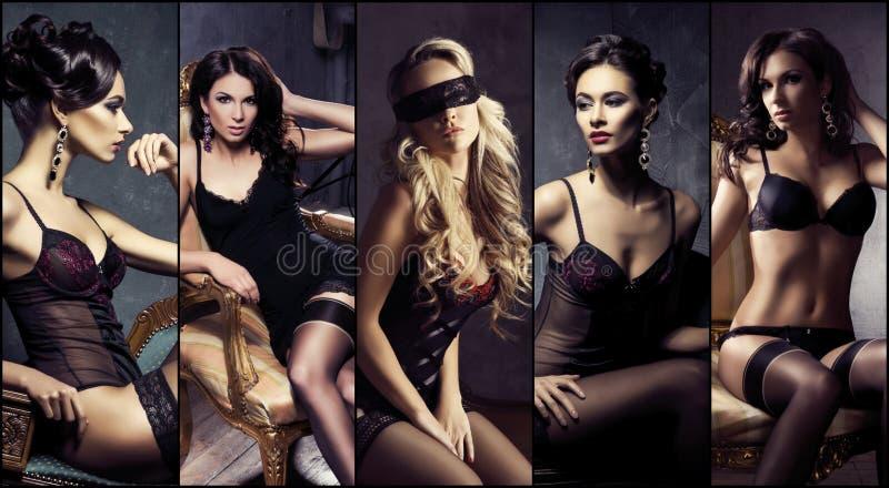 Bonito, 'sexy' e moças na roupa interior foto de stock