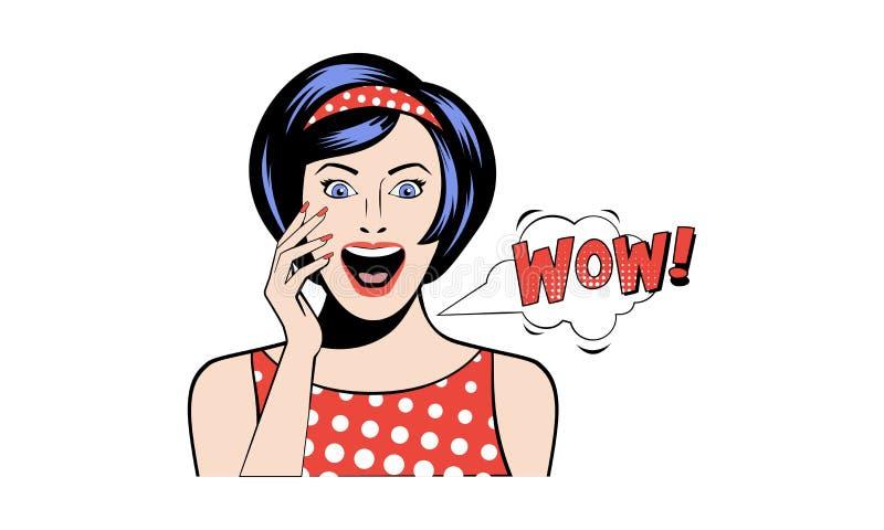 Bonito surpreendeu a mulher que diz wow, menina entusiasmado na ilustração retro do vetor do estilo do pop art em um fundo branco ilustração royalty free