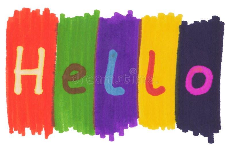 Bonjour, écrit avec les crayons lecteurs colorés d'encre de repère. photos stock