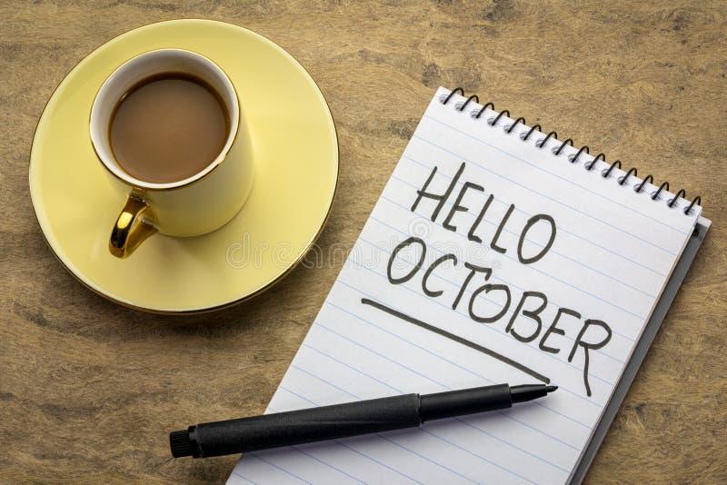 Bonjour écriture d'octobre photos libres de droits