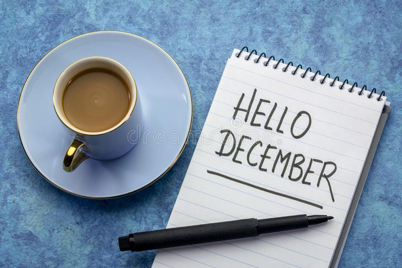 Bonjour écriture de décembre photos libres de droits