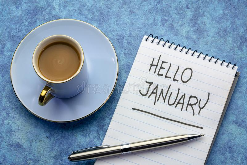 Bonjour écriture de janvier photo libre de droits