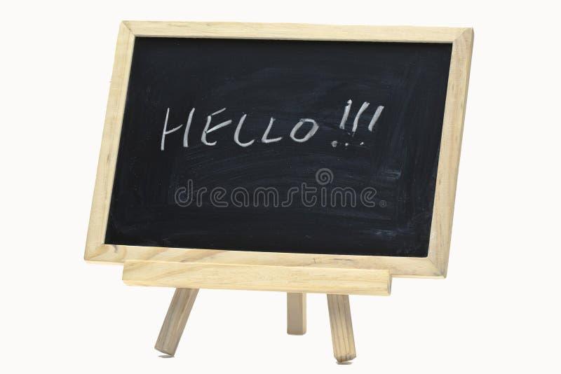 Bonjour écriture sur le panneau d'affichage photo stock