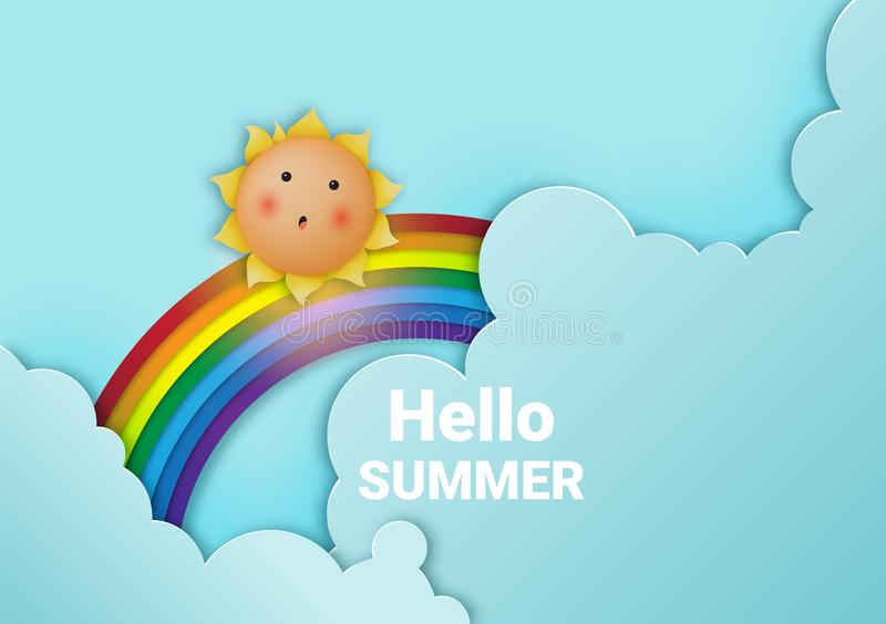 Bonjour été avec le fond mignon ensoleillé et de papier d'art de ciel et l'illustration en pastel de vecteur de modèle de couleur photo libre de droits