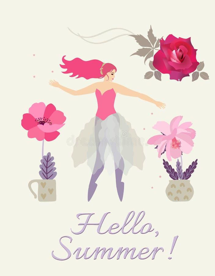 Bonjour, été ! Belle carte verticale avec la ballerine féerique, la rose rouge et les fleurs dans des pots de fleurs d'isolement illustration stock