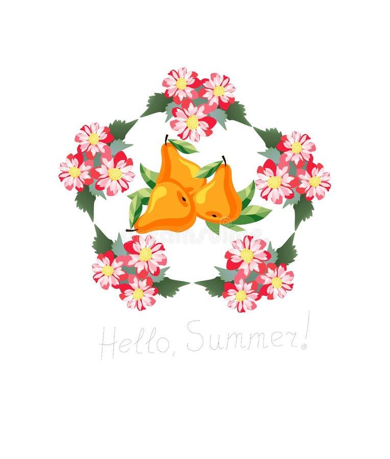 Bonjour, été ! Carte avec les poires savoureuses en guirlande des fleurs illustration de vecteur