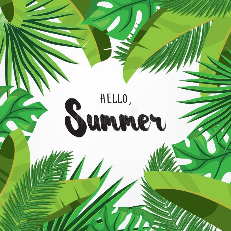 Bonjour, été Carte de voeux de vacances avec les palmettes tropicales illustration libre de droits