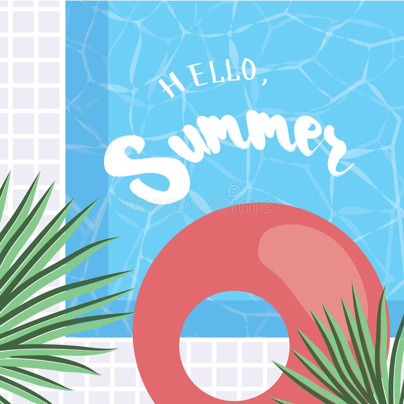 Bonjour, été Carte de voeux de vacances avec les palmettes tropicales, illustration stock
