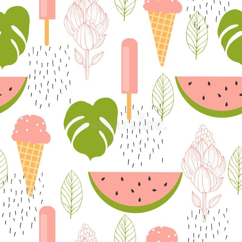 Bonjour été Crème glacée de pastèque et  Dirigez la configuration sans joint illustration stock