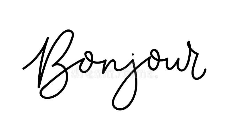 Bonjour - γειά σου γράφοντας κάρτα στα γαλλικά Εμπνευσμένη επιγραφή στα γαλλικά Διανυσματική γράφοντας κάρτα διανυσματική απεικόνιση