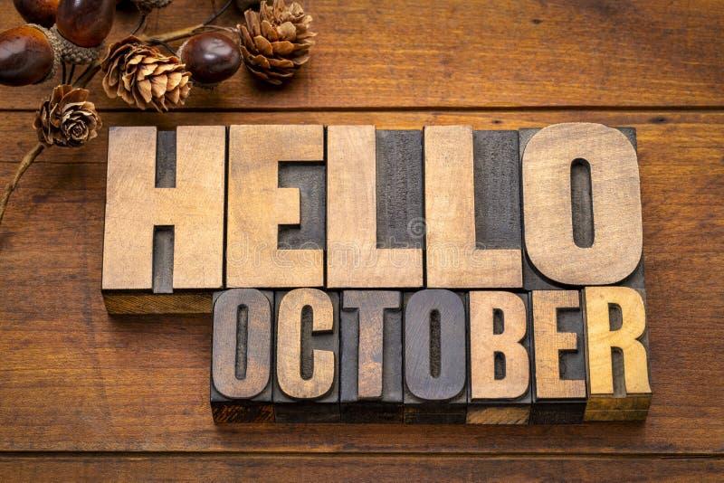 Bonjour abrégé sur mot d'octobre dans le type en bois photographie stock libre de droits