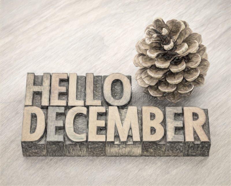 Bonjour abrégé sur mot de décembre dans le type en bois image libre de droits