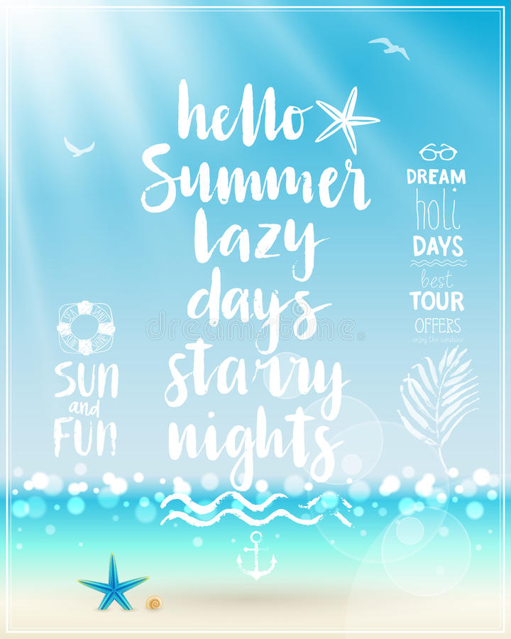 Bonjour affiche d'été avec la calligraphie manuscrite illustration stock