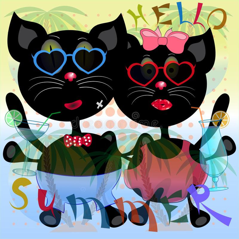 Bonjour affiche de chats d'été illustration de vecteur