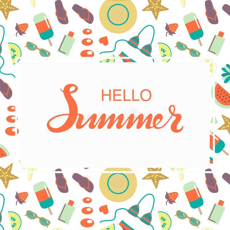 Bonjour affiche de lettrage de typographie d'été esquissée par main illustration de vecteur