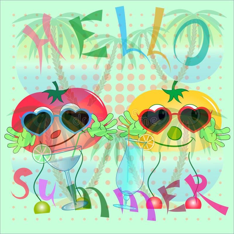 Bonjour affiche de tomates d'été illustration libre de droits