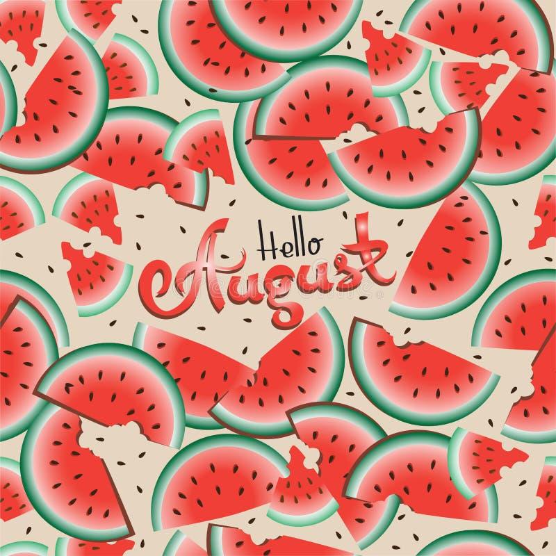 Bonjour août dans la perspective des pastèques illustration de vecteur