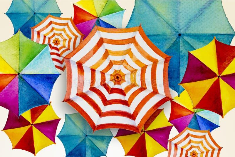 Bonjour D'été Parapluie Le Illustration Aquarelle Coloré Peignant IeEY29HWD
