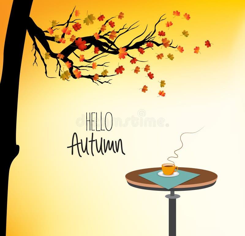 Bonjour automne, avec une tasse de boisson chaude sur la table et l'arbre d'automne illustration de vecteur