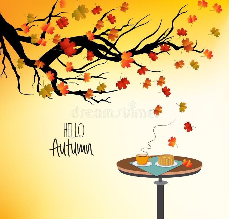 Bonjour automne, avec une tasse de boisson chaude sur la table et l'arbre d'automne illustration libre de droits