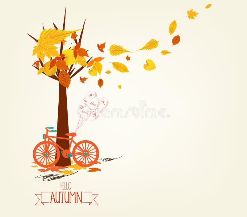 Bonjour automne Bicyclette tirée par la main de tintage avec des feuilles d'automne illustration stock