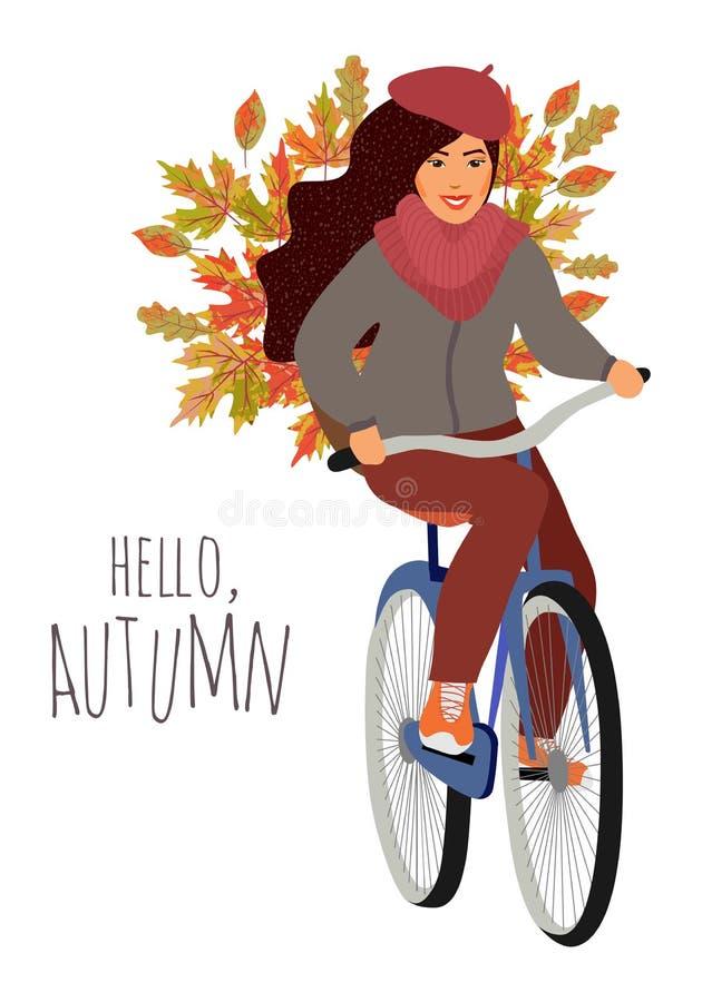 Bonjour, automne Jeune fille montant un vélo avec un panier des feuilles d'érable et de chêne Illustration tirée par la main de v photo libre de droits