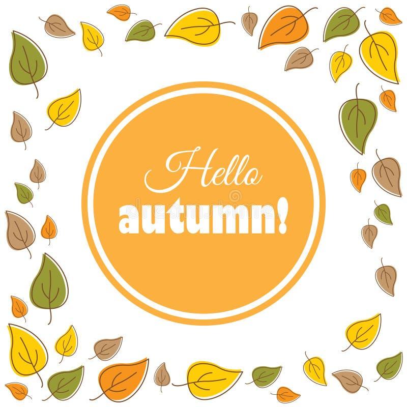 Bonjour, automne Texte dans une guirlande d'automne illustration de vecteur
