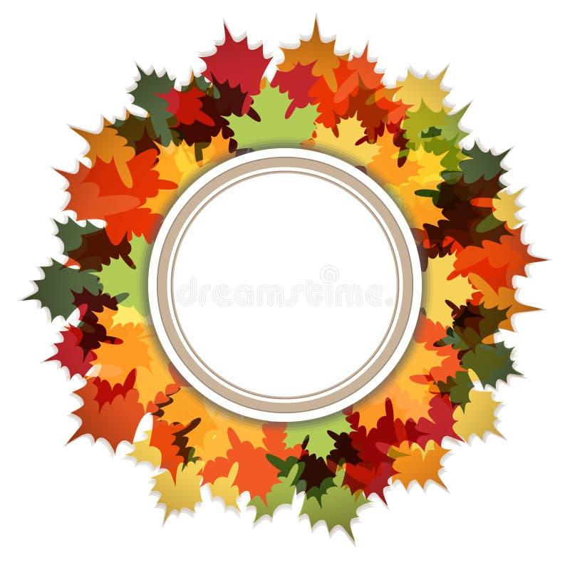 Bonjour Autumn Decorative Ring Frame illustration de vecteur