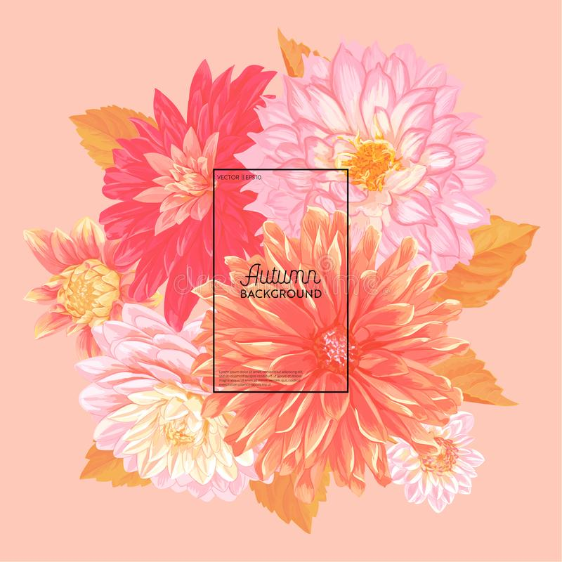Bonjour Autumn Watercolor Floral Design avec la feuille d'érable Bannière saisonnière d'automne, affiche, copie, vente, calibre d illustration libre de droits