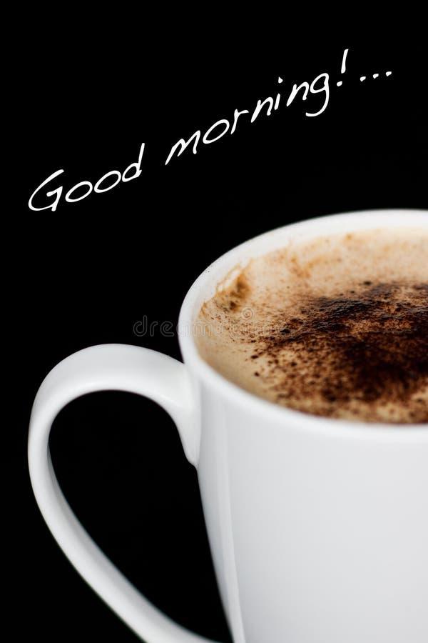 Bonjour avec un cappuccino photographie stock libre de droits