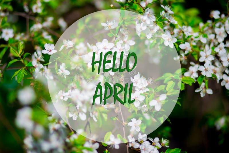 Bonjour avril, message avec la belle scène de nature photographie stock libre de droits
