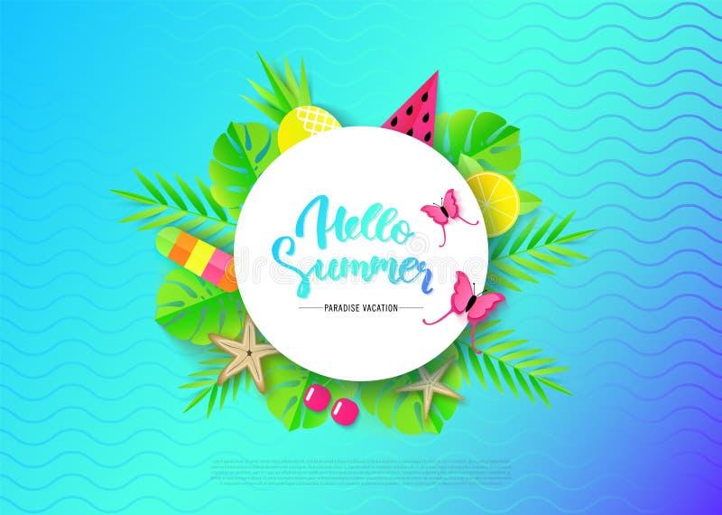 Bonjour bannière d'été avec des éléments de vacances de voyage Illustration de vecteur illustration stock